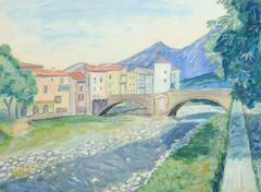 Vintage French Landscape - River Town