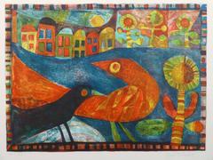 Vintage Stone Lithograph- Birds