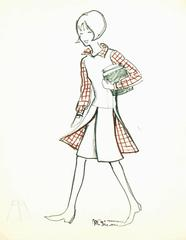Vintage French Pen & Ink Fashion Sketch - Casual Plaids