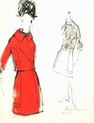 Vintage Balmain Gouache Fashion Sketch - Red Dress Suit