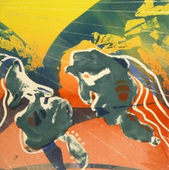 American Abstract Modern Monotype - Figures at Sunrise