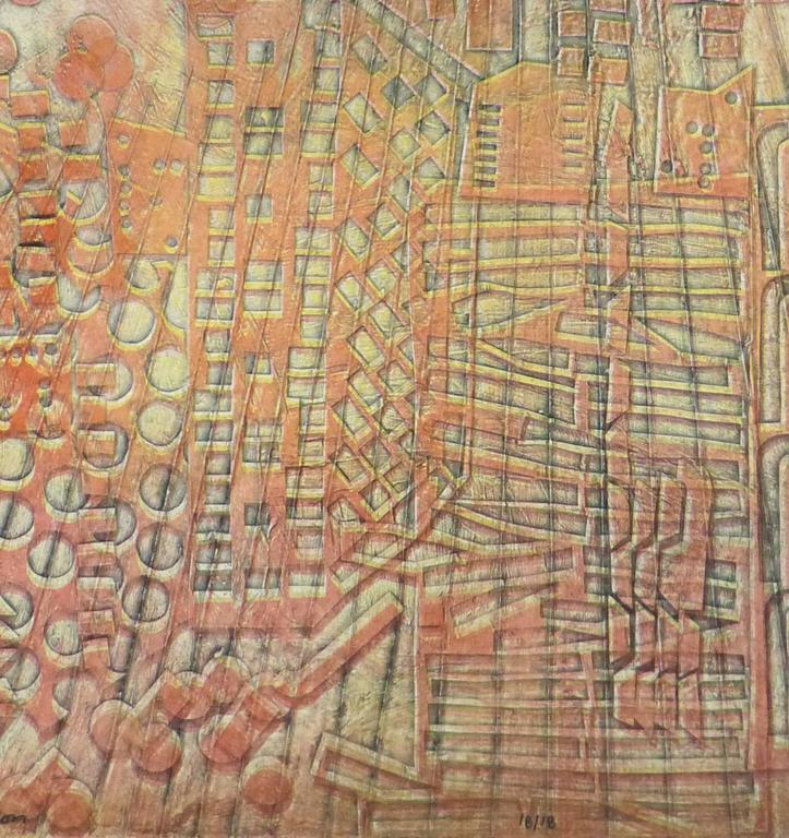American Modern Art - Hong Kong Confusion Orange - Painting by Kismine Varner