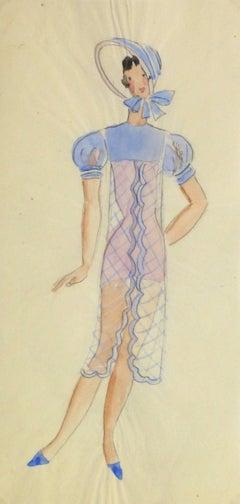 Vintage Parisian Theater Sketch - Bonnet Beauty