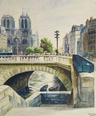 Vintage French Watercolor - Parisian Bridge