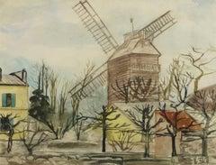 Vintage French Watercolor Landscape - Moulin de la Galette, Paris