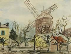Vintage French Watercolor Landscape - Moulin de la Galette, Paris