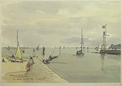 French Lithograph - Pouliguen River