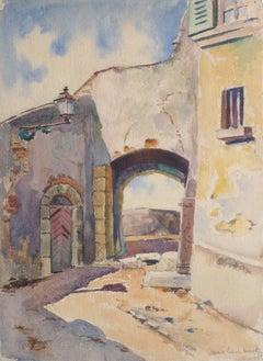 Vintage French Watercolor Painting - Village de Provence