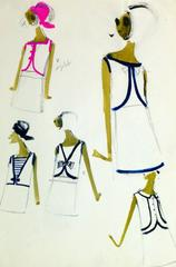 Vintage Balmain Mini Dresses Fashion Sketch