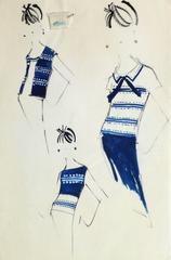 Vintage Balmain Spots & Stripes Fashion Sketch