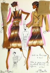 Vintage French Haute Couture Fashion Sketch - Gradient Stripes