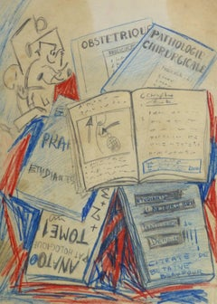 Vintage French Abstract Drawing - Medical Books