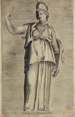 Antique Italian Engraving - Goddess Bellona