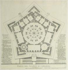 Antique Italian Copper Engraving - Caprarola Palace Floor Plan