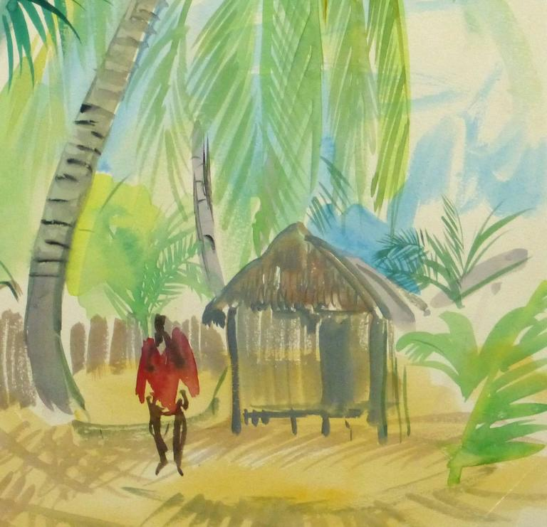 French Watercolor - Tropical Village 3