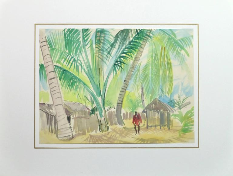 French Watercolor - Tropical Village 4