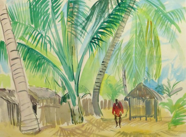 Stephane Magnard - French Watercolor - Tropical Village 1