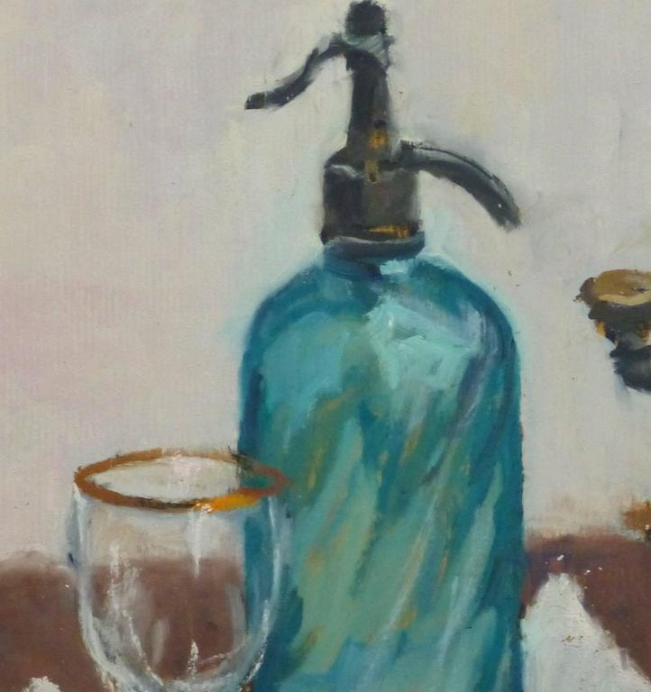 French Oil Still Life - Seltzer & Coffee - Painting by Raymond Bailly