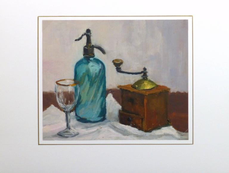 Vintage oil still life of a wooden coffee grinder paired with a seltzer bottle and a sparkling, gold rimmed wine glass by French artist Raymond Bailly, circa 1970.  Original artwork on paper displayed on a white mat with a gold border. Archival