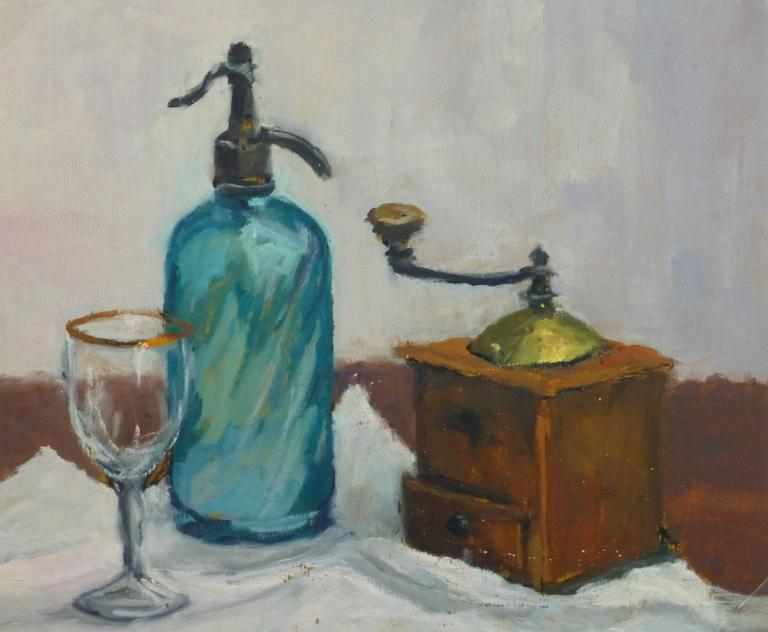 Raymond Bailly Still-Life Painting - French Oil Still Life - Seltzer & Coffee