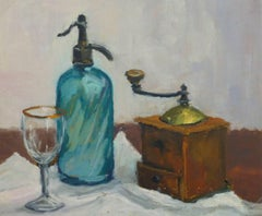French Oil Still Life - Seltzer & Coffee