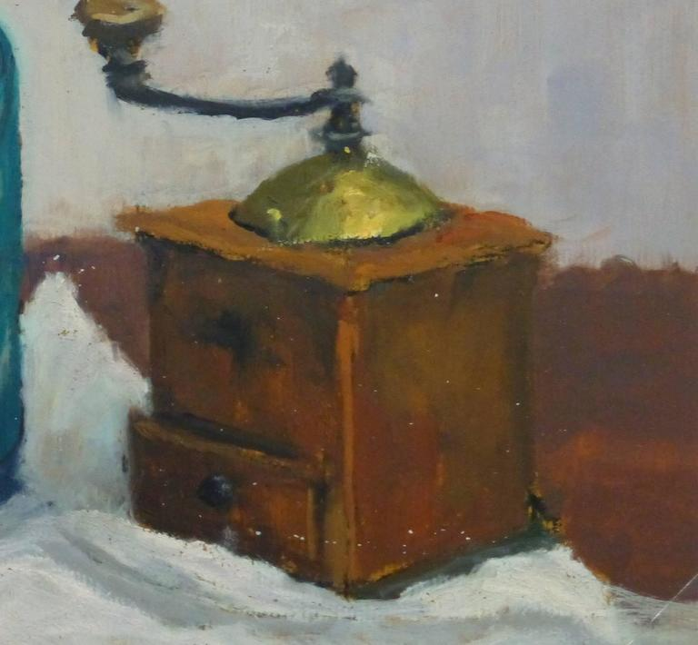 French Oil Still Life - Seltzer & Coffee - Gray Still-Life Painting by Raymond Bailly