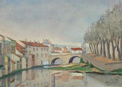 Vintage French Watercolor - Vieil Aurillac