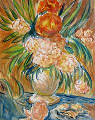 Colorful Floral Bouquet and Tangerine Still Life Painting