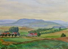 Vintage French Watercolor - Rural Escape