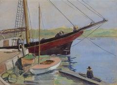 Vintage English Watercolor - Fareham Creek