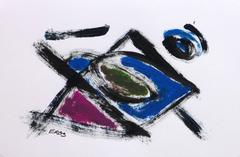 French Abstract Painting - Dynamic Geometric Shapes and Movement