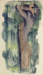 Vintage French Watercolor & Ink Nude - Rain Bath