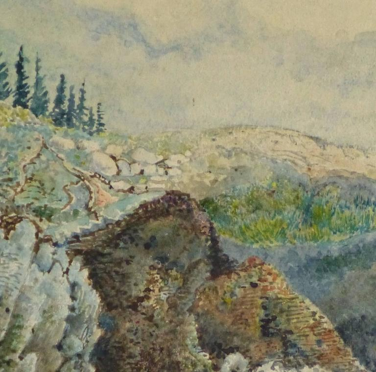 Antique French Watercolor - The Overlook - Art by Unknown