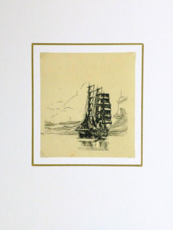Tranquil pen and ink sketch on transfer paper of a large ship afloat in a glassy sea, circa 1920.