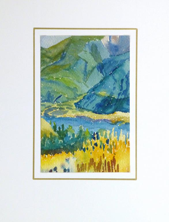 Vintage French Watercolor - Mountain Scene 4