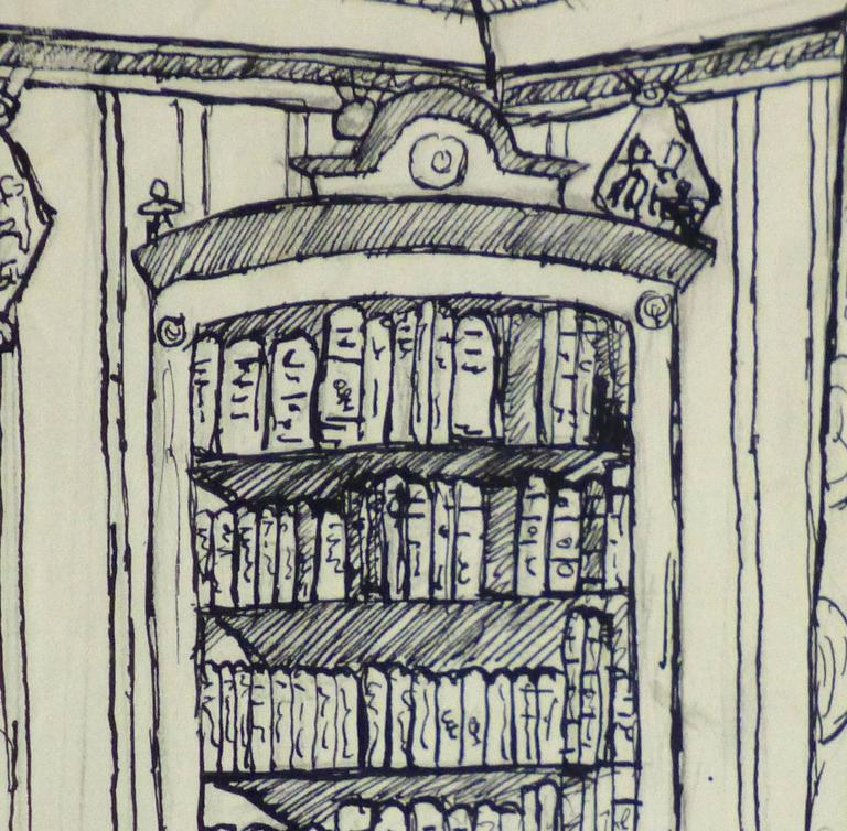 Pen & Ink Drawing - Library Corner 2