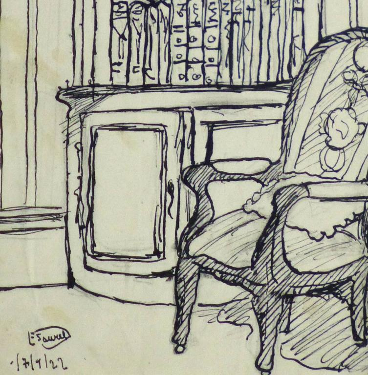 Pen & Ink Drawing - Library Corner 3