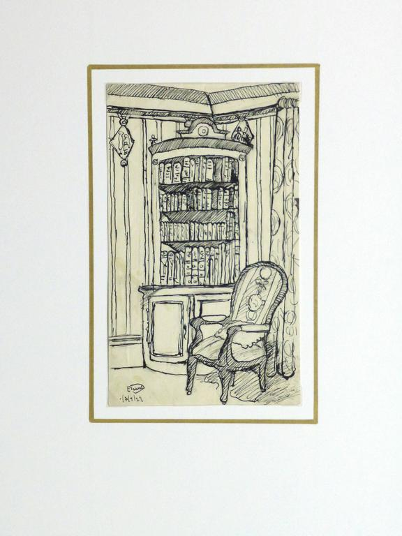 Pen & Ink Drawing - Library Corner 4