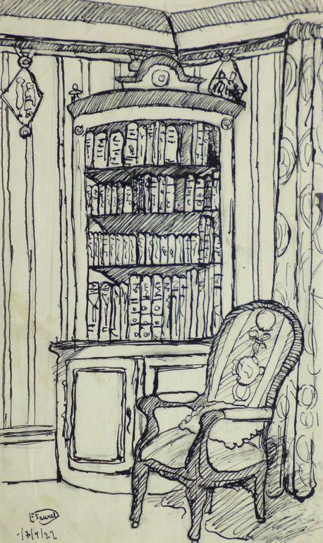 Unknown - Pen & Ink Drawing - Library Corner 1