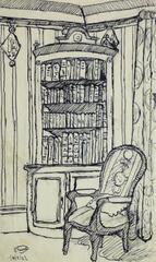Pen & Ink Drawing - Library Corner