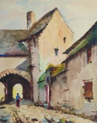 Vintage French Watercolor - Old Town