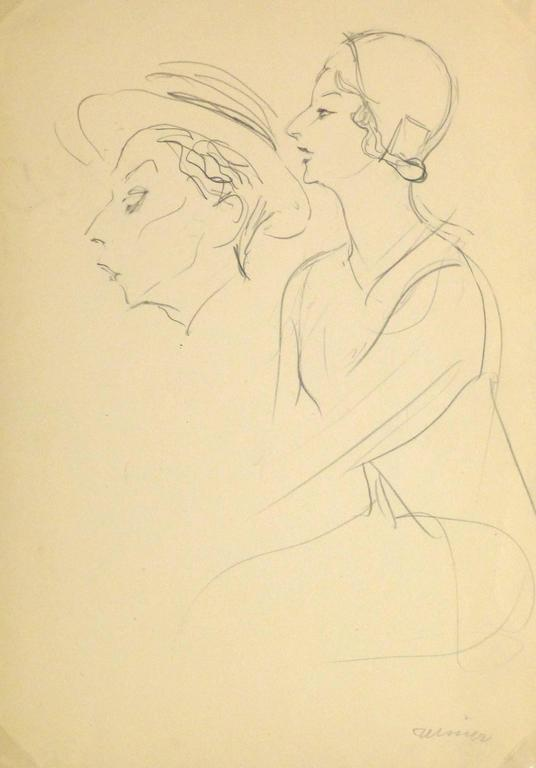Unknown - French Pencil Sketch - 1920s Actress 1