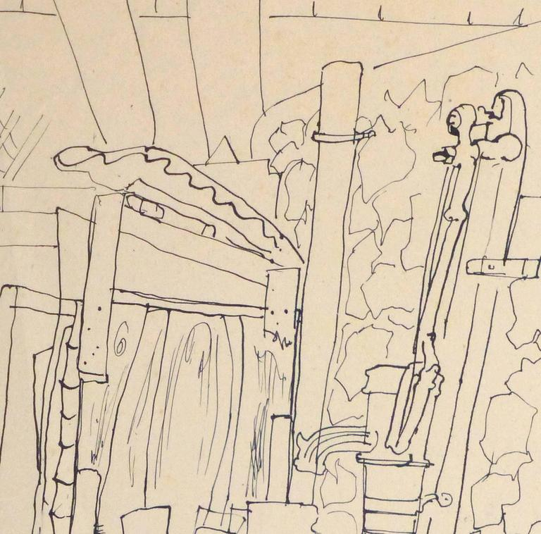 Vintage French Pen & ink Drawing - French Courtyard - Art by Jean-Charles Lauthe