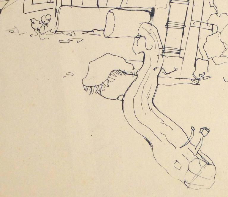 Vintage French Pen & ink Drawing - French Courtyard - Beige Landscape Art by Jean-Charles Lauthe