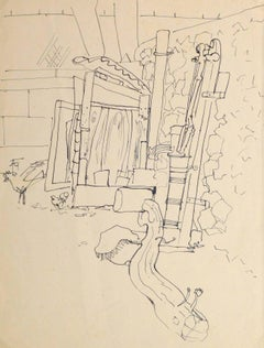 Vintage French Pen & ink Drawing - French Courtyard