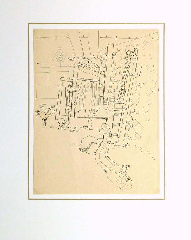 Playful pen and ink line drawing of a small garden courtyard by artist Jean Charles Lauthe, circa 1930.  Original artwork on paper displayed on a white mat with a gold border. Archival plastic sleeve and Certificate of Authenticity included.
