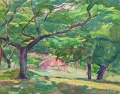 Vintage English Watercolor - Summer's Shade at the Cottage in the Forest