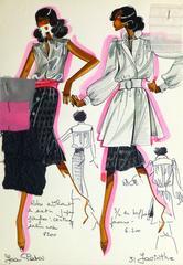 Vintage Haute Couture Fashion Sketch- Black Skirt