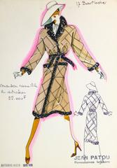 Vintage Haute Couture Fashion Sketch - Brown Trench Coat