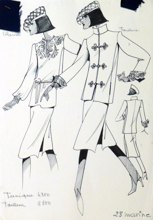French Haute Couture Fashion Sketch - Embellished Jacket & Blouse